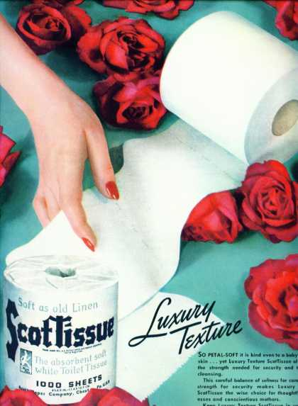 Scottissue Toilet Paper Ad Red Roses (1940)