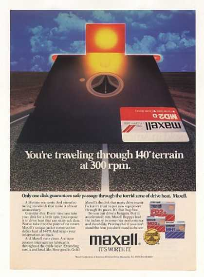 "Maxell 5 1/4"" Floppy Disk Safe Thru Drive Heat (1984)"