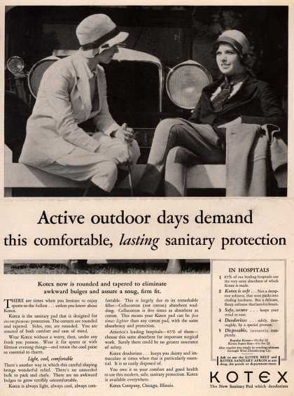 Kotex Company's Sanitary Napkins – Active outdoor days demand this comfortable, lasting sanitary protection (1930)