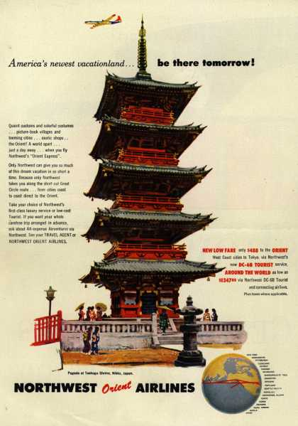 Northwest Airline's Orient – America's newest vacationland... be there tomorrow (1954)