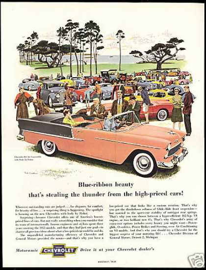 Chevrolet Bel Air Convertible Car Meet Show Art (1955)