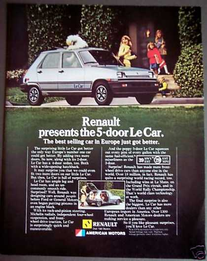 Renault 5-door Le Car Family W/ Dog (1981)