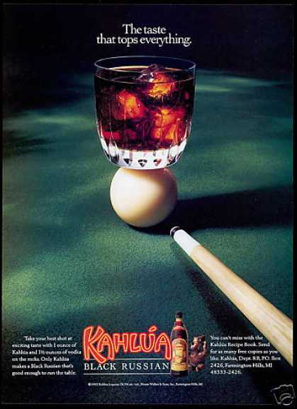 Kahlua Liqueur Cue Ball Pool Table Photo (1992)
