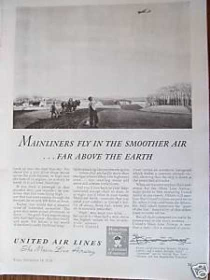 United Air Lines Plane Flying (1938)