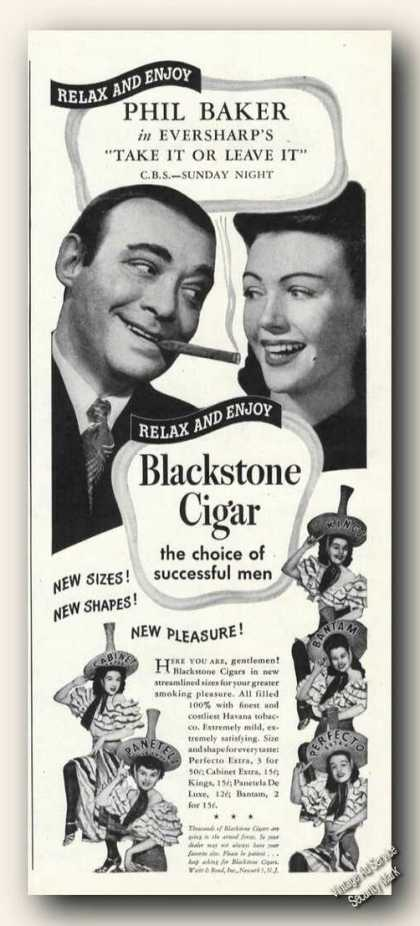 Phil Baker Photo Blackstone Cigar Advertising (1944)