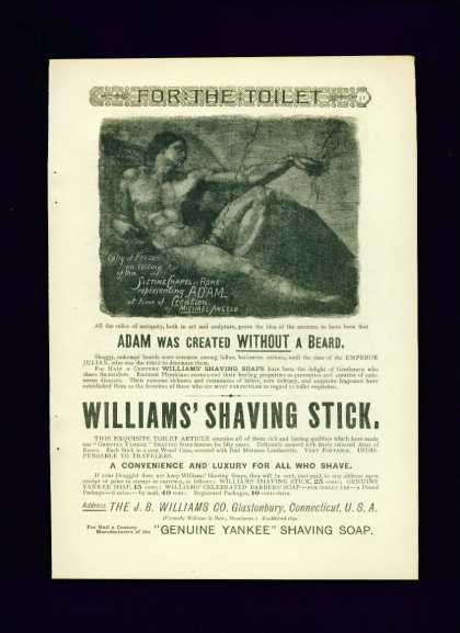 Williams' Shaving Stick Ad C Sistine Chapel Adam (1890)