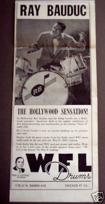 Drummer Ray Bauduc Wfl Drums Music (1946)