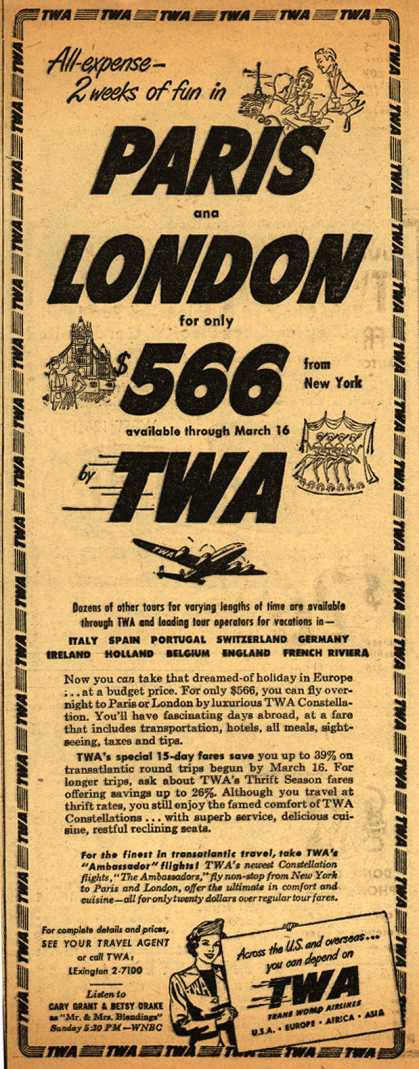 Trans World Airline's Paris and London – All-expense 2 weeks of fun in Paris and London for only $566 (1951)