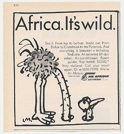 Air Afrique Airlines Africa Wild Ostrich art (1968)