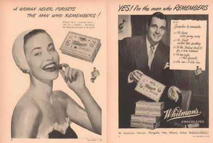 Whitman's Sampler Ads – Man and Woman- Set of Two (1949)