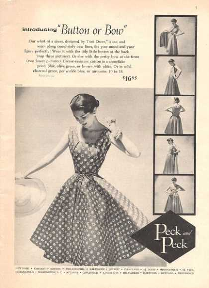 Peck & Peck Dress By Toni Owen Button Or (1956)