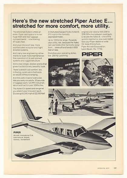 Piper Aztec E Airplane Aircraft Photo (1971)