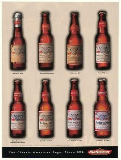 Bud Budweiser Beer Old Bottles Since 1876 (1998)