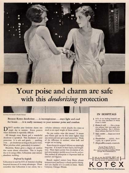 Kotex Company's Sanitary Napkins – Your poise and charm are safe with this deodorizing protection (1930)