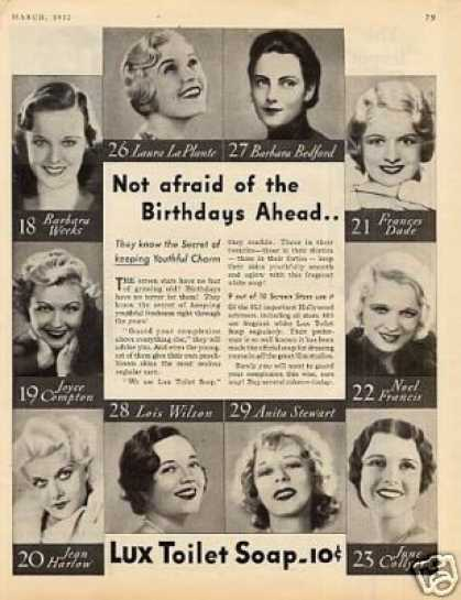 Lux Soap Ad Movie Stars (1932)