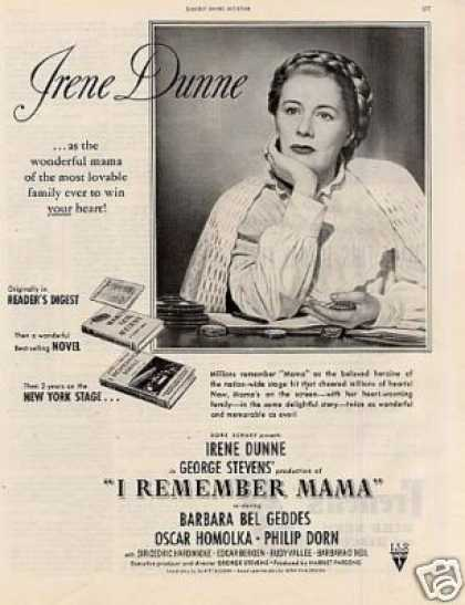 "Movie Ad ""I Remember Mama"" Irene Dunne (1947)"