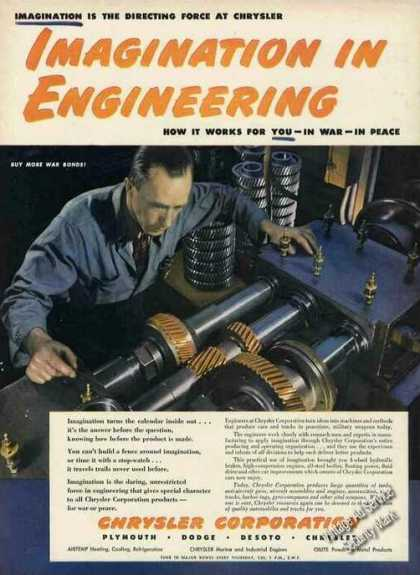 "Wwii Chrysler Ad ""Imagination In Engineering"" (1944)"