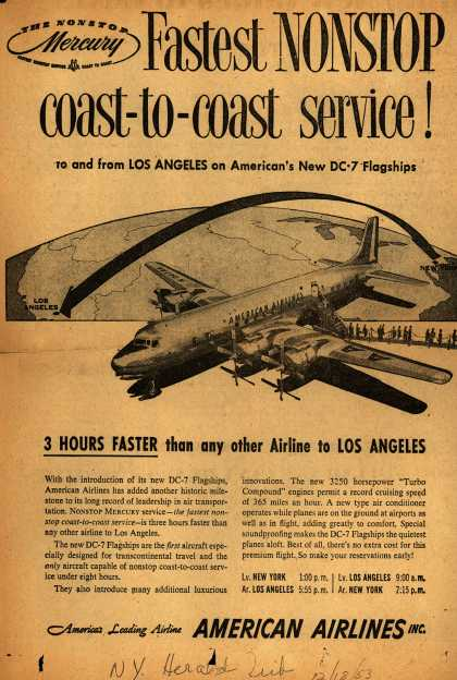American Airline's coast-to-coast service – Fastest NONSTOP coast-to-coast service (1953)