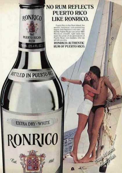 Ronrico Reflects Puerto Rico Couple On Sailboat (1980)
