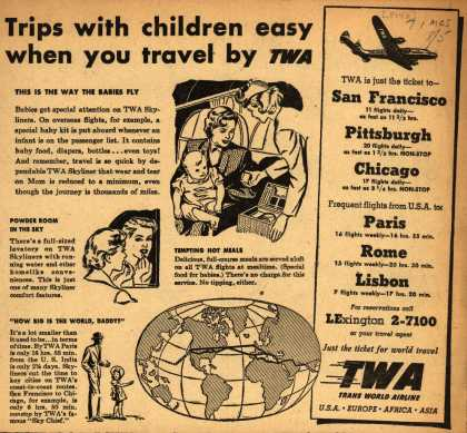 Trans World Airline's Skyliner – Trips with children easy when you travel by TWA (1948)