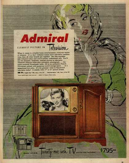 Admiral Corporation's Television Combinations – Admiral, Clearest Picture in Television (1951)