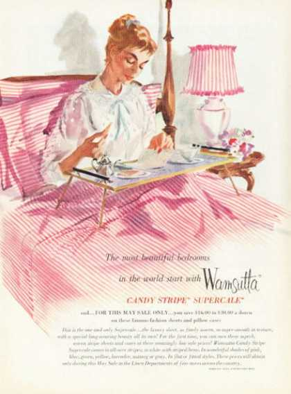 Wamsutta Candy Stripe Pillowcase Sheet (1955)