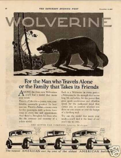 "Reo Wolverine Car Ad ""For the Man Who Travels... (1928)"