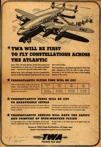 Transcontinental & Western Air's Constellations – TWA Will Be First To Fly Constellations Across The Atlantic (1945)