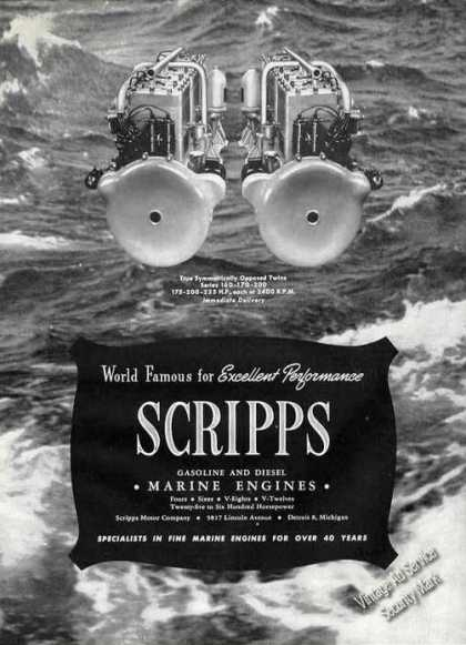Scripps Gasoline & Diesel Marine Engines Photo (1947)
