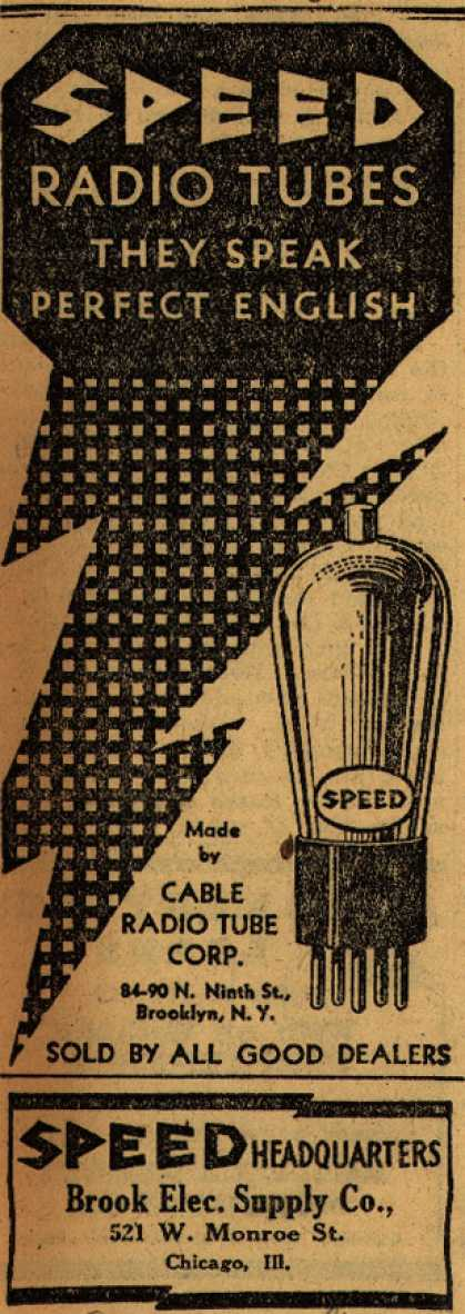 Cable Radio Tube Corporation's Radio Tubes – Speed Radio Tubes, They Speak Perfect English (1930)