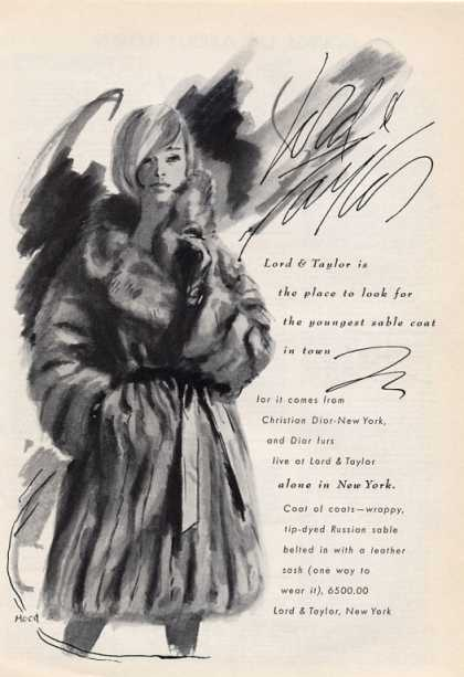 Lord & Taylor Tip Dye Russiansable Coat (1965)