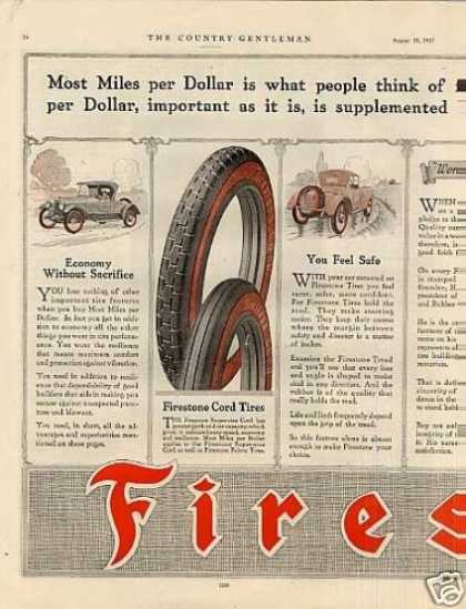 Firestone Tire Color Ad Centerfold (1917)