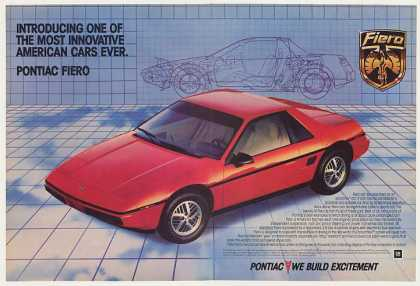 Red Pontiac Fiero Introduction Blueprint (1983)