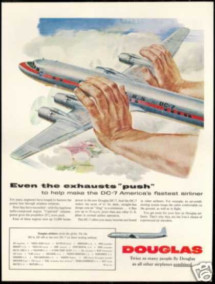 Douglas DC-7 DC7 Exhausts Push Plane Airplane (1954)