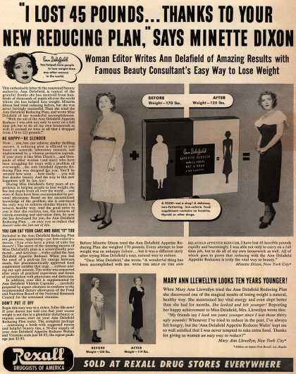 "Unknown's Ann Delafield's Reducing Plan – ""I Lost 45 Pounds...Thanks To Your New Reducing Plan,"" Says Minette Dixon (1952)"