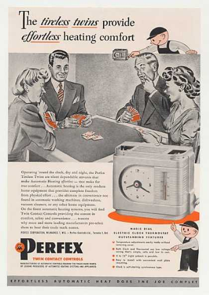 Perfex Tireless Twins Electric Clock Thermostat (1947)