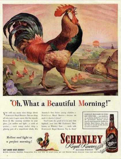 Schenley Whiskey Rooster Art Nice (1944)