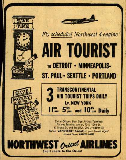Northwest Airline's Air Tourist – Fly scheduled Northwest 4-engine Air Tourist (1953)