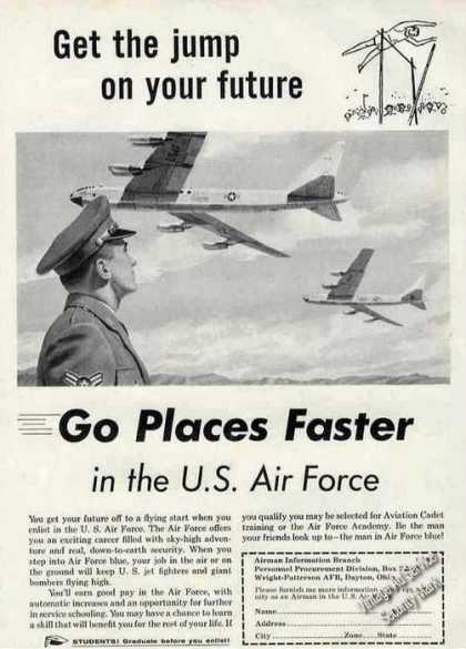 Go Places Faster In the Us Air Force Recruiting (1955)