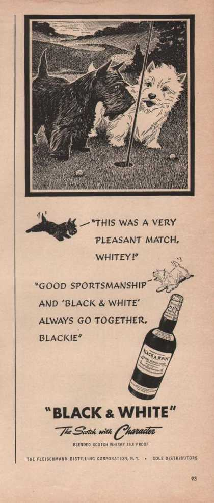 """Pleasant Match"" Black & White Scotch Prin (1949)"