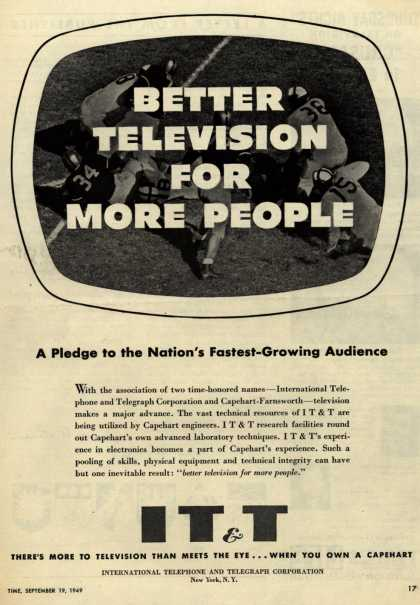 International Telephone and Telegraph Corporation's Capehart Television – Better Television for More People. A Pledge to the Nation's Fastest-Growing Audience (1949)