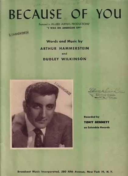 Because of You – Tony Bennett Movie Sheet Music – Sold (1940)