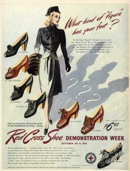 Red Cross Womens Shoe Styles Rare Color (1942)