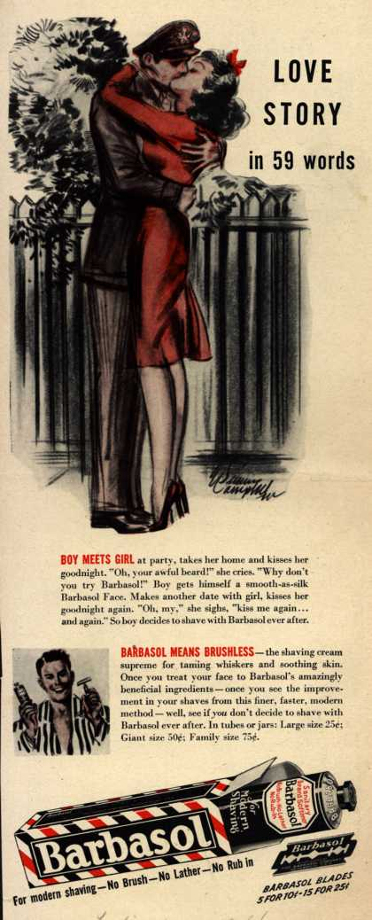 Barbasol – Love Story in 59 words (1944)