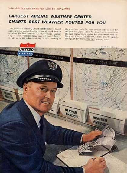 "United Air Lines Ad ""Largest Airline Weather... (1958)"