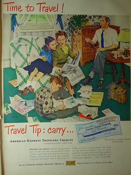 American Express Travelers Checks AND Pabst Blue Ribbon Mr Mrs Edward G Robinson (1950)