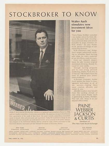 Stockbroker Walter Auch Paine Webber Photo (1965)