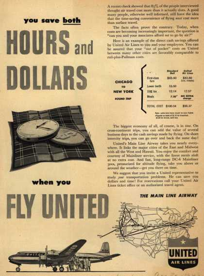 United Air Lines – You save both Hours and Dollars when you Fly United (1949)