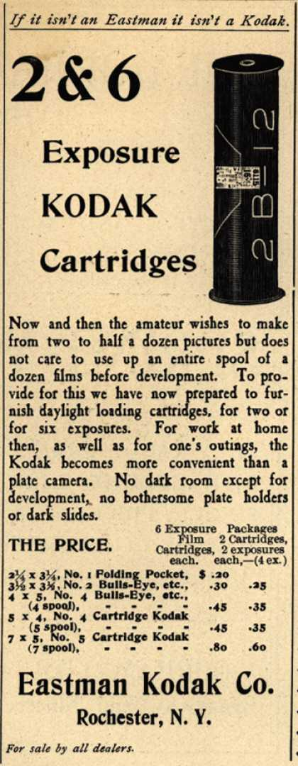 Kodak – If it isn't an Eastman, it isn't a Kodak. 2 & 6 Exposure Kodak Cartridges.
