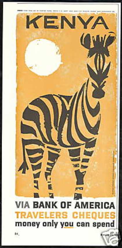 Zebra Art Kenya Bank of America Vintage (1959)